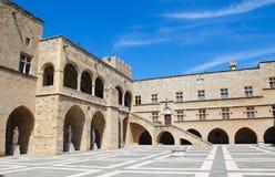 Slott av den storslagna förlagen av riddarna av Rhodes, Grekland Royaltyfria Bilder