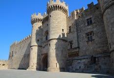 Slott av den storslagna förlagen i staden av Rhodes, Grekland Arkivbilder