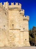 Slott av den storslagna förlagen riddarna Rhodes Den huvudsakliga ingången Arkivbilder