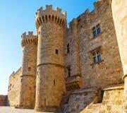 Slott av den storslagna förlagen riddarna Rhodes, en medeltida slott Hospitalleren på ön, Grekland Royaltyfri Fotografi