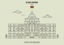 Slott av den storslagna hertigen i Karlsruhe, Tyskland Gränsmärkesymbol arkivbilder