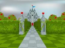 Slott av drottningen av hjärtor vektor illustrationer