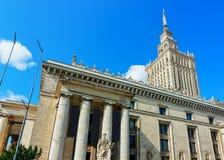 Slott av kultur- och vetenskapsskyskrapan på Warszawastaden arkivbilder