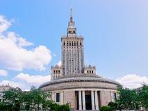 Slott av kultur- och vetenskapsskyskrapan av Warszawastaden arkivfoto