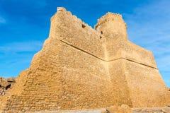 Slott av Le Castella på capoen Rizzuto, Calabria, Italien Arkivbilder