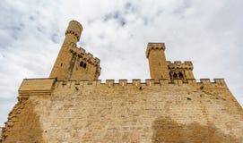 Slott av Olite den nedersta sikten i Navarre, Spanien Arkivfoto