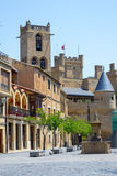 Slott av Olite från stadshusfyrkanten Royaltyfria Foton