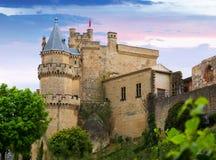 Slott av Olite i sommarafton navarre Arkivbilder