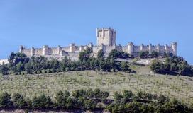 Slott av Penafiel, Valladolid, Spanien Arkivfoton