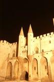 Slott av popesna, exponerad på natten Arkivfoto