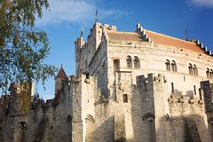 Slott av räkningarna i Ghent i Belgien arkivbild