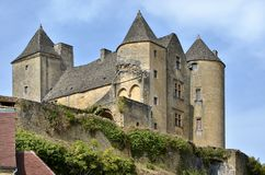 Slott av Salignac i Frankrike Arkivfoton