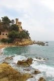 Slott av Sant Joan i Lloret de Mar spain Arkivbild