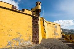 Slott av Sao Tiago i Funchal, madeira, Portugal Arkivbild