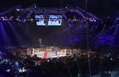Slott av sportar i Kyiv under afton av boxning Royaltyfri Foto