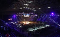 Slott av sportar i Kyiv under afton av boxning Royaltyfria Foton