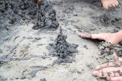 Slott av svart sand Fotografering för Bildbyråer