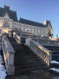Slott av utomhus- arkitektur för kultur i vintersäsong Arkivbild