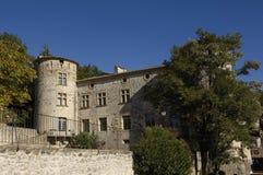 Slott av Vogà ¼ é, Rhone-Alpes, Ardeche, Arkivbilder