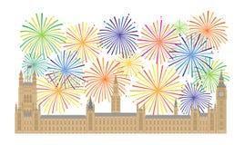 Slott av Westminster och fyrverkerivektorillustration royaltyfri illustrationer