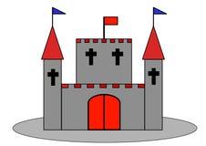 Slott eller slott med bastionen och flaggan arkivbild