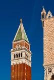 Slott för campanile- och doge` s i Venedig Fotografering för Bildbyråer