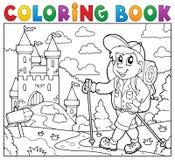 Slott för fotvandrare för färgläggningbok near stock illustrationer