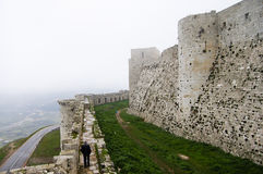 Slott för Krak des-Chevaliers - Syrien Arkivbilder