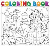 Slott för lycklig prinsessa för färgläggningbok near royaltyfri illustrationer