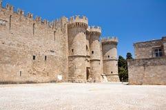 Slott för storslagen förlage för riddare. Rhodes Island Grekland. Royaltyfria Bilder