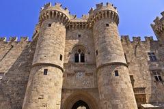 Slott för storslagen förlage i Rhodes, Grekland Arkivbild