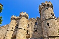 Slott för storslagen förlage i Rhodes, Grekland Fotografering för Bildbyråer