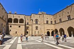 Slott för storslagen förlage i Rhodes, Grekland Arkivbilder