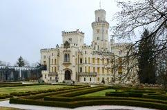 Slott Hluboka nad Vltavou, södra Bohemia fotografering för bildbyråer