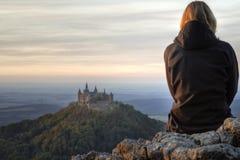 Slott Hohenzollern i höst Royaltyfria Foton