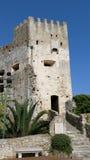 Slott i den gamla byn av Roquebrune-Lock-svalan royaltyfria foton