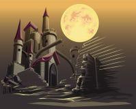Slott i den mörka natten och fullmånen royaltyfri illustrationer