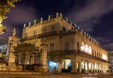 Slott i gammala Havana på natten Arkivbilder