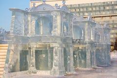 Slott i isstad Arkivbild