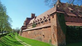 Slott i Malbork, Polen. Arkivfoton