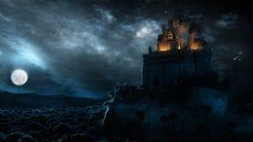 Slott i natten Arkivfoton