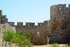 Slott i Rhodes Greece - slotten av den storslagna förlagen Fotografering för Bildbyråer