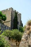 Slott i Rhodes Greece - slotten av den storslagna förlagen Arkivfoton