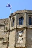 Slott i Rhodes Greece - slotten av den storslagna förlagen Royaltyfri Foto