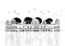 Slott i vatten - Jal Mahal, Rajasthan, Indien vektor Illustratio Royaltyfria Bilder