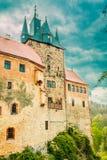 Slott Kriebstein i saxony arkivbild