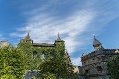 Slott Lichtenstein - hjälpbyggnad med tornet Arkivfoton