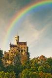 Slott Lichtenstein med regnbågen Fotografering för Bildbyråer