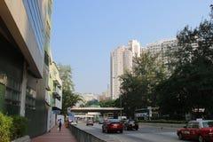 Slott maximal Rd Tsuen som är glåmig på Hong Kong arkivfoton