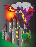 Slott- och brandandningdrake Stock Illustrationer